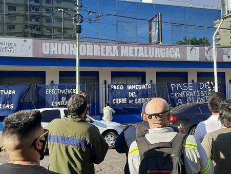 Masiva protesta y movilización de trabajadores de Tenaris