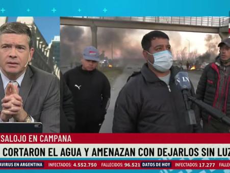 Desalojo en Campana: les cortaron el agua y amenazan con dejarlos sin luz