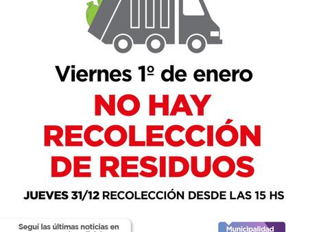 Informan el cronograma de recolección de residuos para Año Nuevo