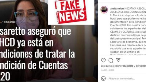 Cantlon dijo que hubo una ''negativa absoluta al acceso de documentación'' y habló de ''fake news''