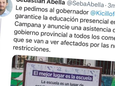 Abella le pidió a Kicillof que no cierre escuelas en Campana y que garantice asistencia a afectados
