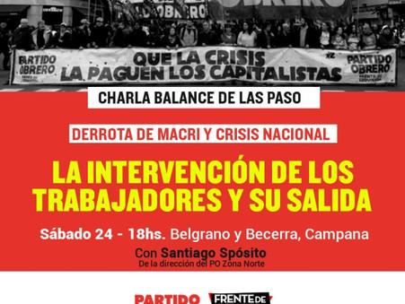 El Partido Obrero realizará una charla debate sobre las PASO y la crisis económica posterior