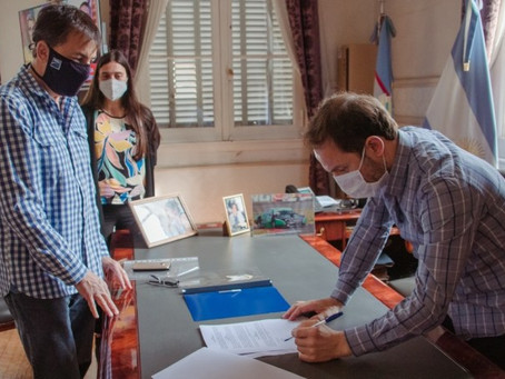 Abella firmó con EDEN el convenio para la instalación del servicio eléctrico en la Los Pioneros