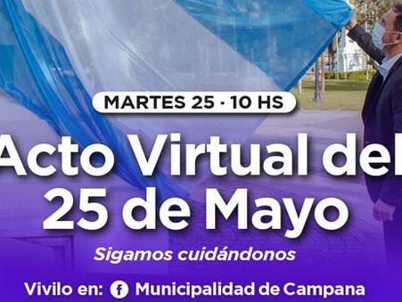El Municipio invita a disfrutar del acto virtual por el 25 de Mayo