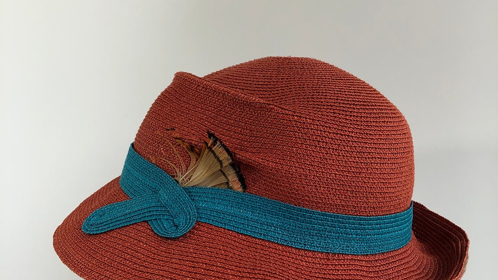 Fedora, sort of  (orange with turquoise)
