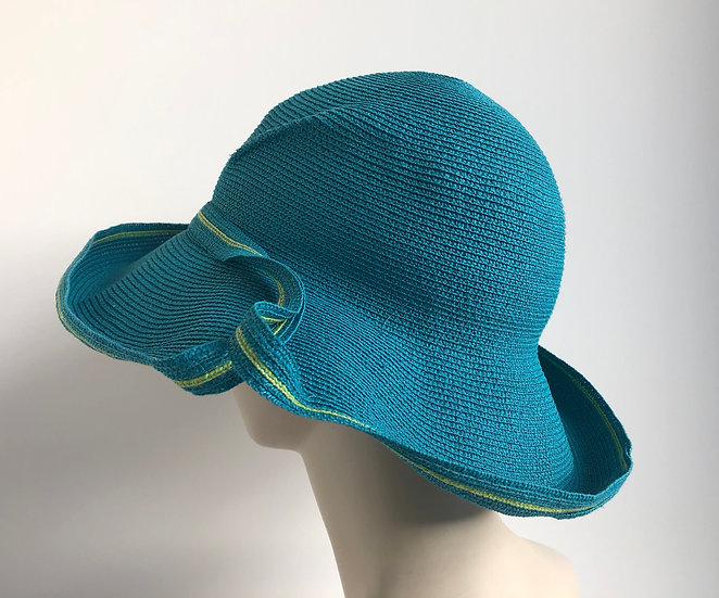 Lily Bart with Breton brim edge (turquoise/lime)