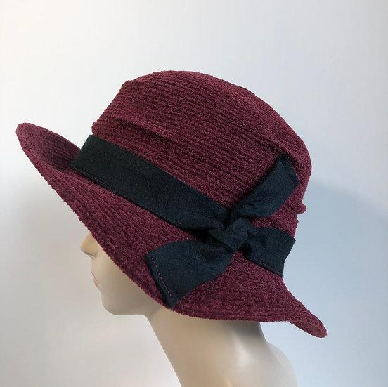 Pinched Crown (dark red, black wool tie)