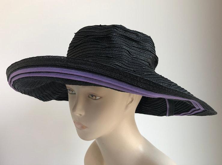 Myrna  (black with lavender stripe edge)