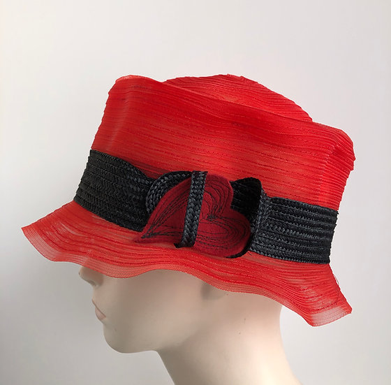 Fedora, sort of  (red horsehair w/ black band)
