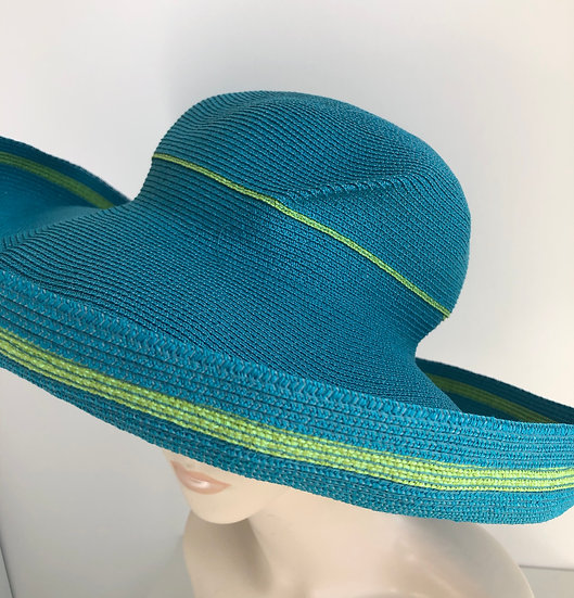 Lily Bart (turquoise w/ lime, wide brim, no twist