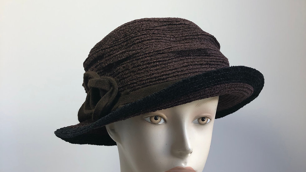 Pinched Crown (chenille, brown & black)