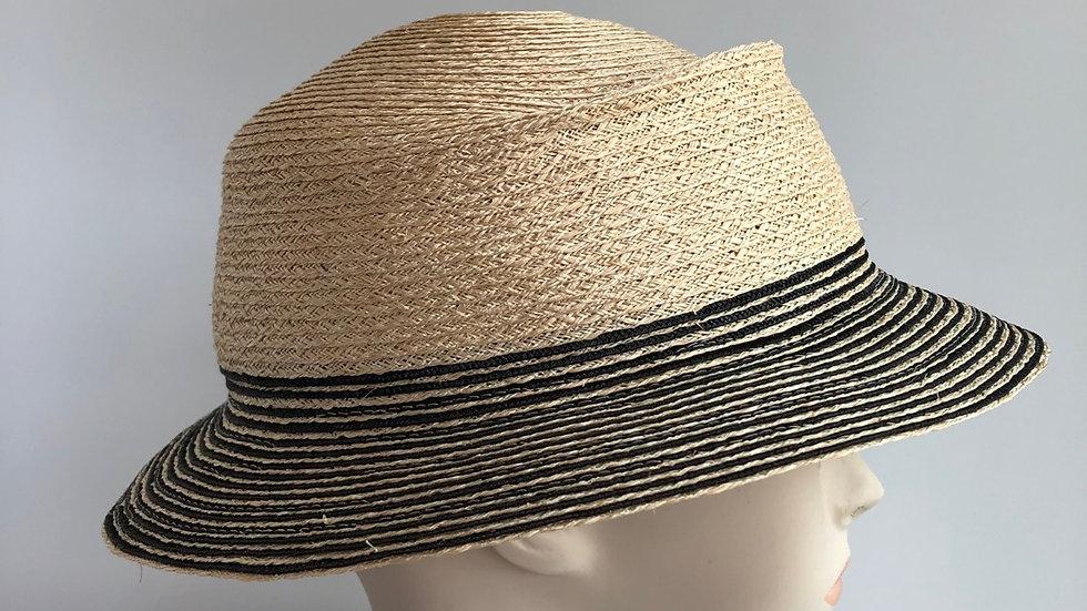 Fedora,  sort of (nat'l hemp with black stripes)