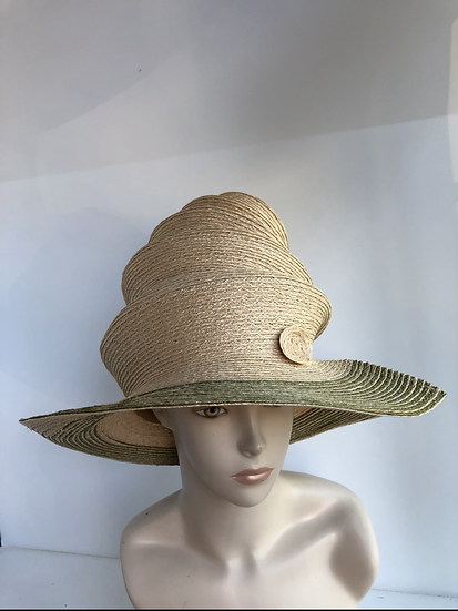 Tiered Top Hat  (hemp with olive)