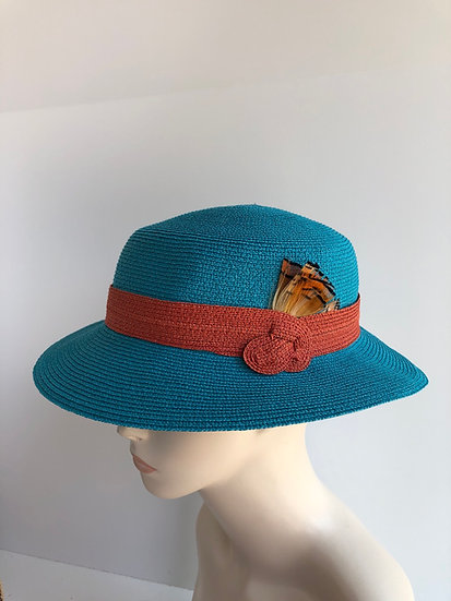 Fedora, sort of - turquoise/orange wide