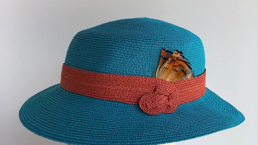 Fedora, sort of - turquoise/orange wide