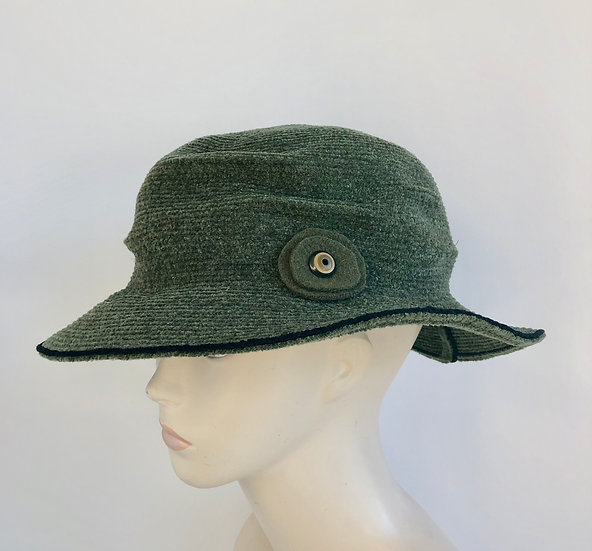 Pinched Crown (olive chenille with black edge)