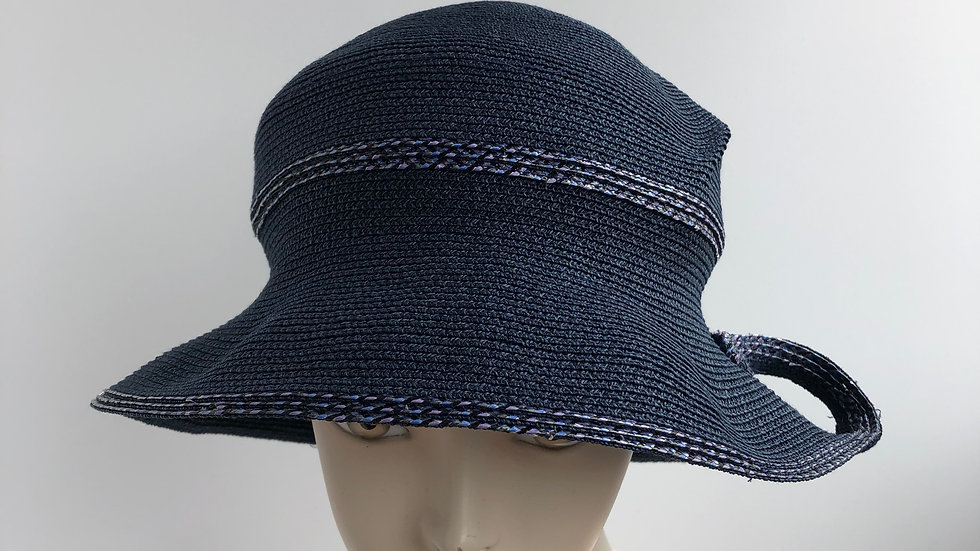 Daisy B  (wider brim, navy with twist)