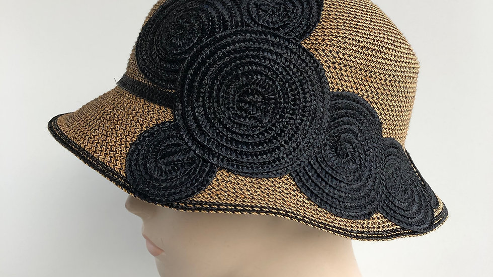 Circle Cloche  (gold/black w/ wave in back)