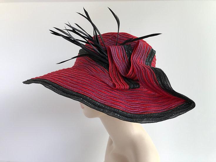 Gudrun   (red w/ lavender waves, black edge)