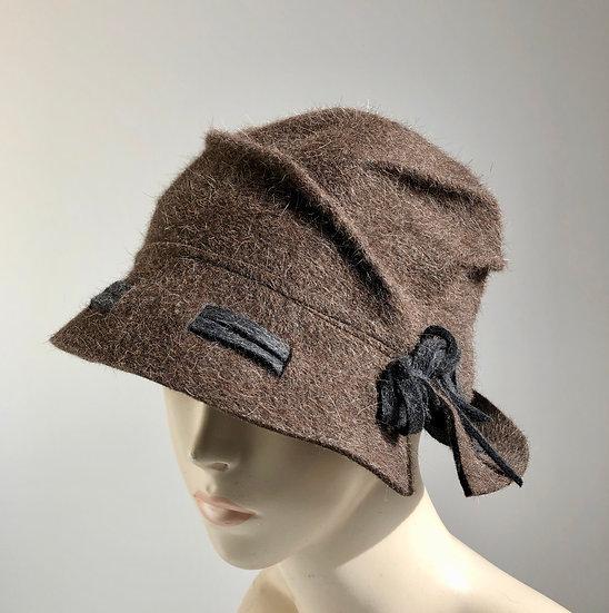 Fur Felt Cloche - brown with gray woven brim