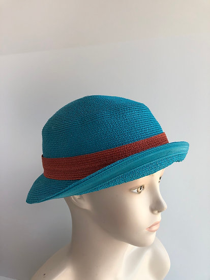 Fedora, sort of (turquoise/orange)