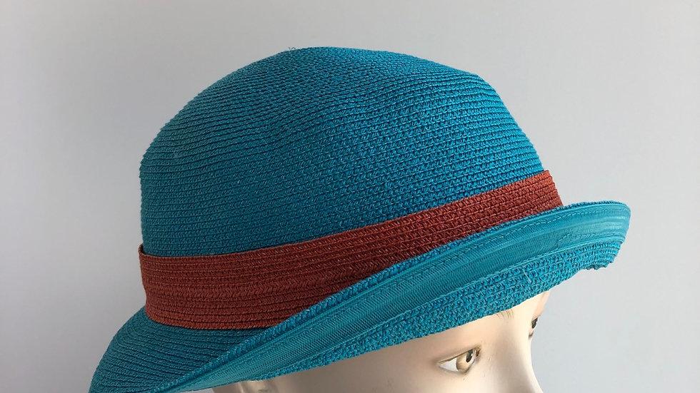 Fedora, sort of (turquoise/orange)