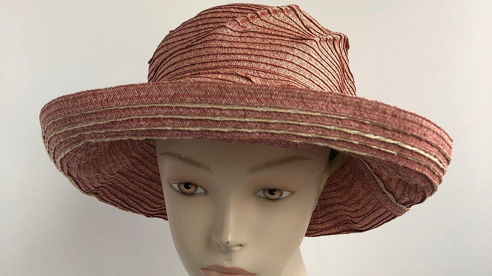 Elinor   (rose with nat'l scalloped hemp stripes)