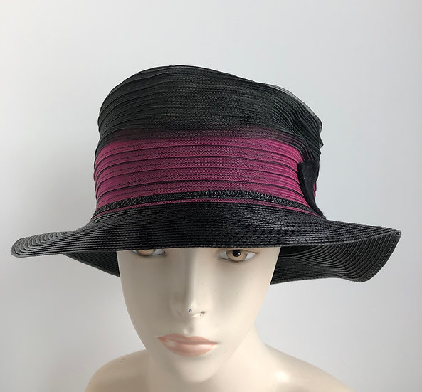 Fedora - sort of (black & magenta horsehair)