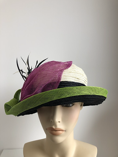 Lena - wide brim with magenta/lime