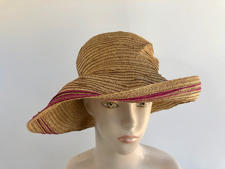 Elinor (wheat with magenta, flex brim)