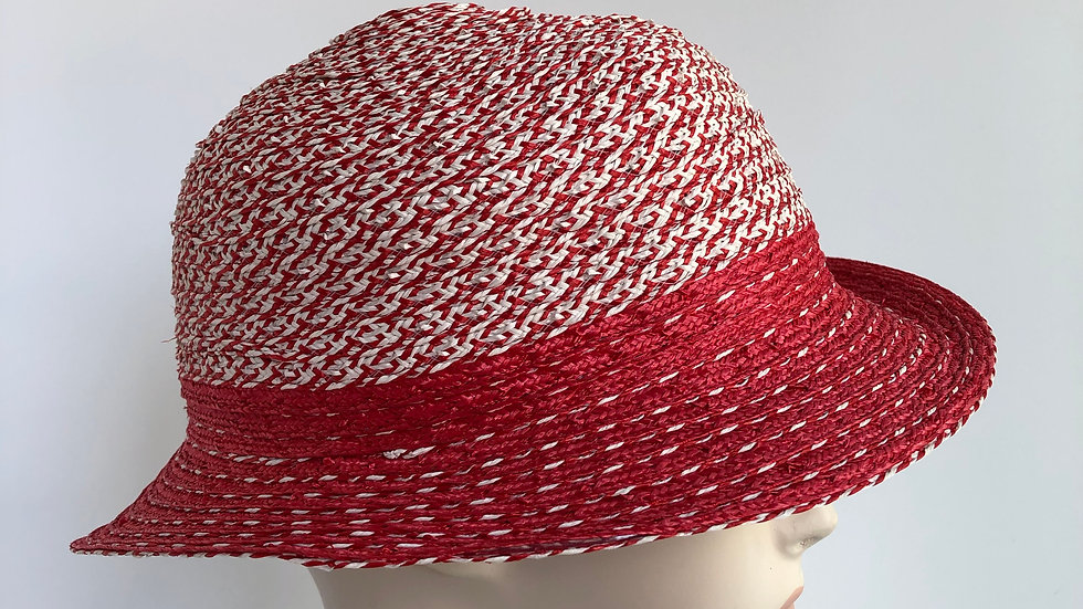 Fedora, sort of  (red tweed with solid striping)
