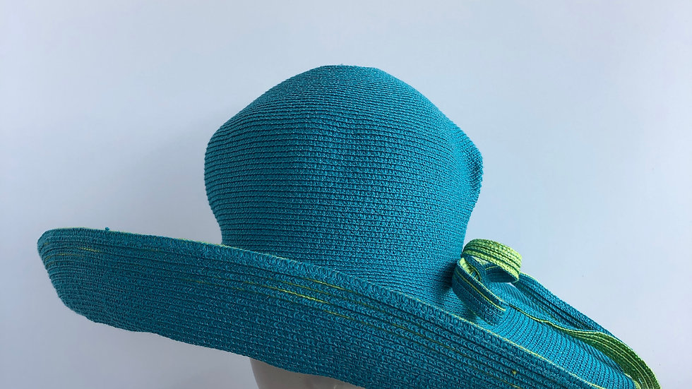 Lily Bart  ( twist, turquoise & lime wide brim)