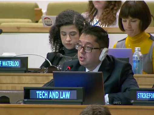 CEO de Tech & Law, participó activamente en sesiones en Naciones Unidas en Nueva York, donde se