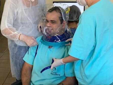 Profissionais de saúde do CIM receberam treinamento para utilização do capacete Elmo