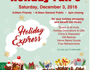 Friends of Library Holiday Faire isDec. 3