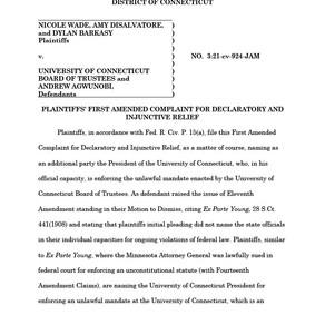 University of Connecticut Lawsuit – Amended Complaint
