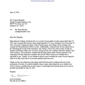 Massachusetts college of liberal arts - response to public records request