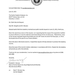 Massachusetts maritime academy - response to public records request
