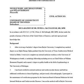 University of Connecticut Lawsuit – Dr. Peter McCullough's Expert Declaration