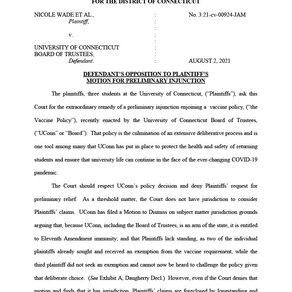 University of Connecticut Lawsuit – Opposition Memorandum to Our Motion for Preliminary Injunction