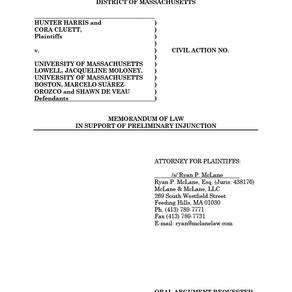 University of Massachusetts Lawsuit – Preliminary Injunction