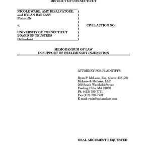 University of Connecticut –Memorandum of Law