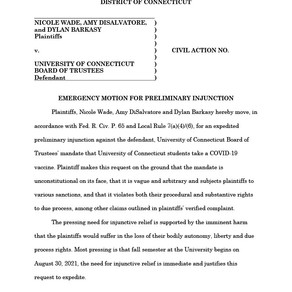 University of Connecticut – Emergency Motion for Preliminary Injunction