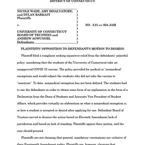 University of Connecticut – Opposition to Motion to Dismiss