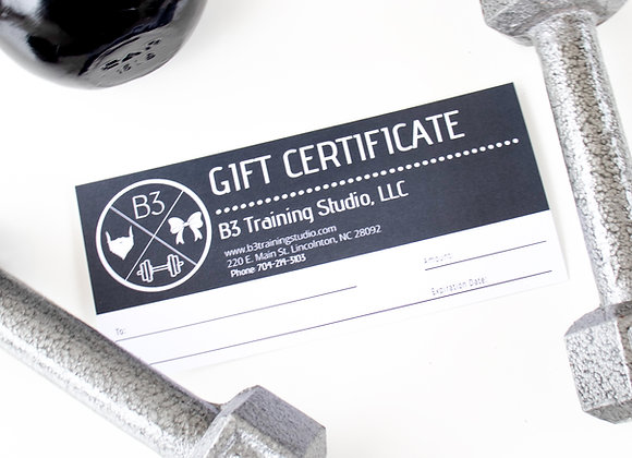 B3 Gift Certificate