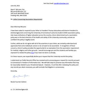 University of Connecticut correspondence