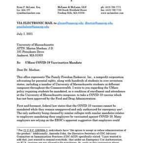 University of Massachusetts President Letter