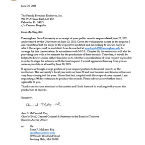 Framingham State University - response to public records request