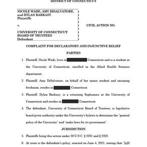 University of Connecticut –Complaint for Declaratory & Injunctive Relief