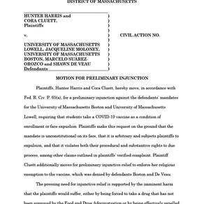 University of Massachusetts lawsuit – Filed Motion